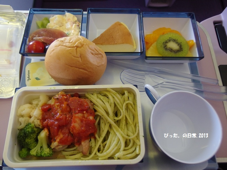 China Airline,機内食,チキンパスタ